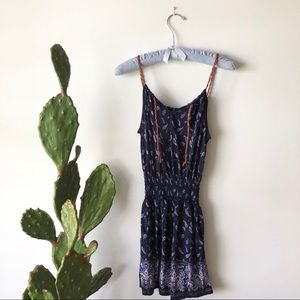 Paisley Ruched Navy Romper